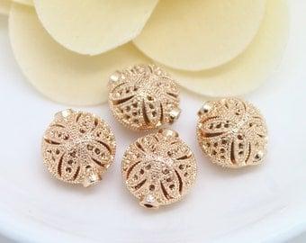 2pcs 15mm 24K Gold filled Brass Hollow Beads (#10001124)
