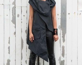 Asymmetric Black Vest / Sleeveless Long Tunic / Big Collar Top / Piece of Art Clothing Item / Large Pocket Vest / Plus Size Available