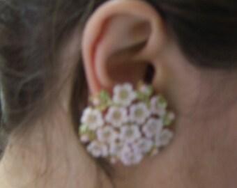 Pink Flower Clip-on Earrings
