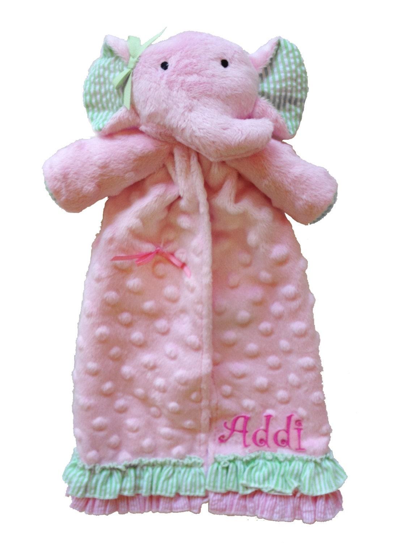 Personalized Soft Minky Dot Elephant Lovie By