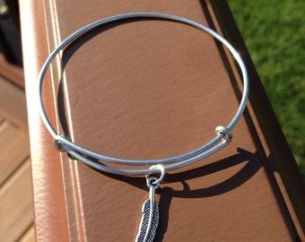 Feather charm bracelet inspired bangle