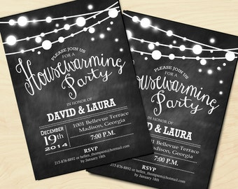 Chalkboard Housewarming Invitation / Fairy String Lights / Digital Invitation / Printable Customized