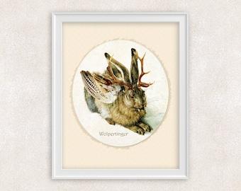 Wolpertinger Art Print - Rabbit - Bavarian Folklore - Antique Painting - 8x10 PRINT - Item #521