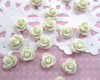 White 10mm rose cabochons, cute flower cabs