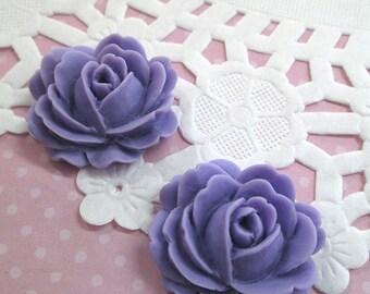 Lavender Cabbage Rose Flower Cabochons, 26x22mm Flower Cabs