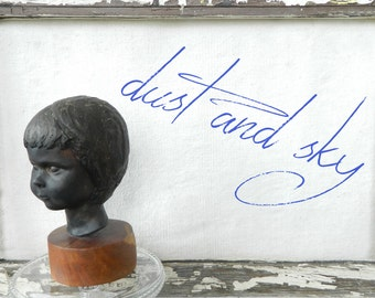 Free Shipping, Wonderful Mid-Century Plaster Bust, Child, Girl Head