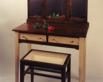 Gorgeous Makeup Vanity with Caned Seating