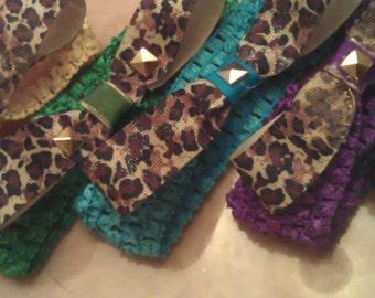 Studded Leopard Print Bow Crochet Headband ***6 VIBRANT COLORS***