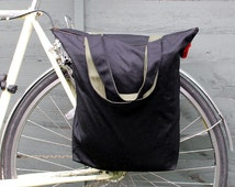 Hybrid bicycle pannier and shoulder tote bag - black antique waxed cotton.