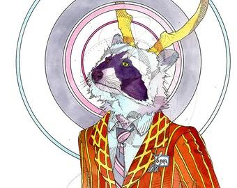 Business Soon Raccoon- Limited Edition Fine Art Print 5x7.