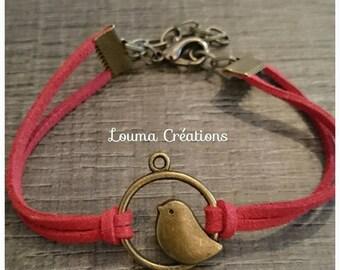 Suede adjustable in length, bronze bird charm bracelet