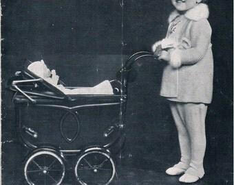 Vintage Knitting Pattern PDF: 1940s Bairns-Wear Little Girls Coats Berets Legginettes Booklet Download Digital Copy