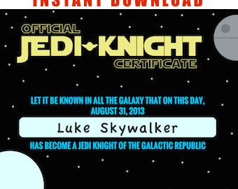 Popular items for jedi knight on etsy for Star wars jedi certificate template free