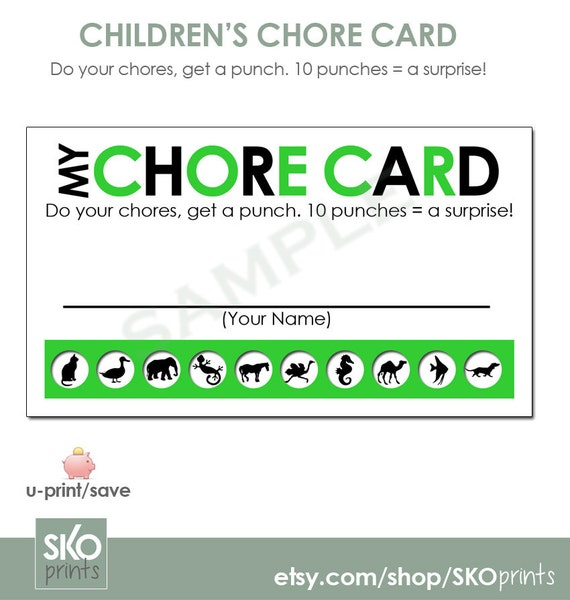 Printable Reward Chore Punch Cards