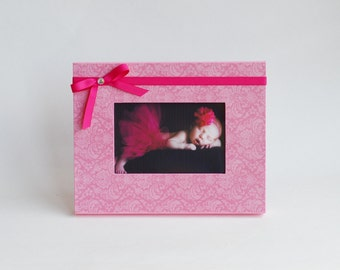 Pink Girl's Picture Frame - Damask Hot Pink Photo Frame - Girl's Nursery Gift - Available in 6 Sizes and many Colors and Styles