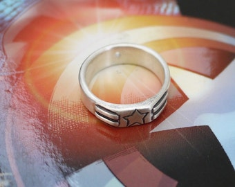 Captain America Star-Spangled Banner Silver Ring