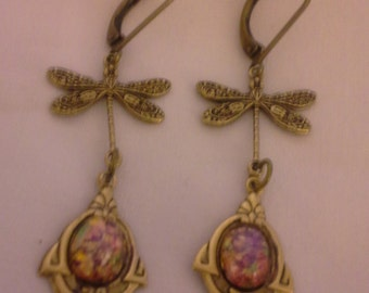 Victorian Inspired Dragonfly Earrings and Pink Opal Glass = E 166