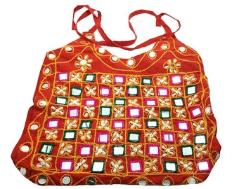 Handmade cotton purse Thread work Mirror work Intricate embroidery Traditional shoulder bag Vintage tote bag Hippie bag Ethnic hobo Gift bag
