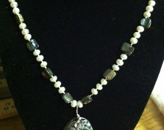 Abalone and Freshwater Pearl Necklace