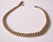 Monet Weaved Bracelet Gold Tone Vintage 1960s Pat Pend Graduated Chain Link 7 Inches Long
