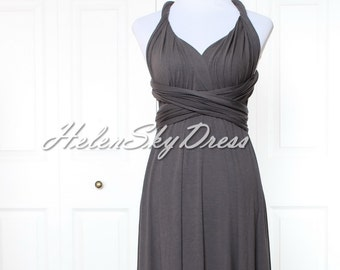 Infinity Dress Convertible Dress short Wrap Bridesmaid Dress Gown Formal in Dark Grey tea length