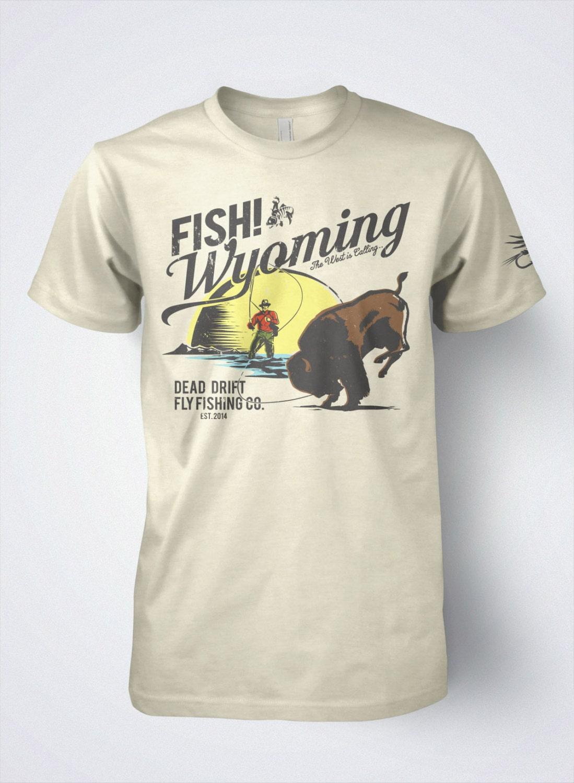 Fly fishing t shirt the retro buffalo by dead drift fly for Fly fishing shirt