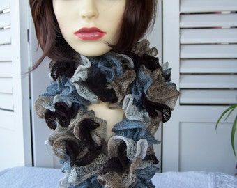 Hand Knitted Blue And Brown Ballerina Scarf - Free Shipping