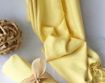 PALE YELLOW Wedding Pashmina decorated with burlap ribbon. Bridesmaid wraps. Scarfs