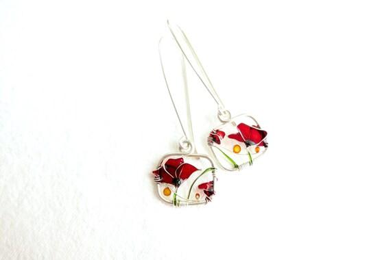 Red Poppies Silver Earrings. Red Earrings. Flower Earrings. Dangle Earrings. Red Poppies Jewelry. Red Jewelry. Red Silver Earrings.