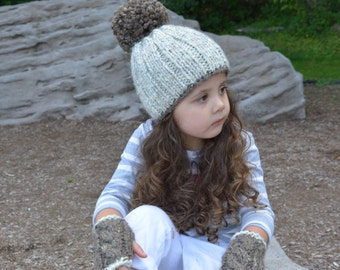 Knit Pom Pom Hat with Matching Gloves / Children Fall Accessories Free US Shipping