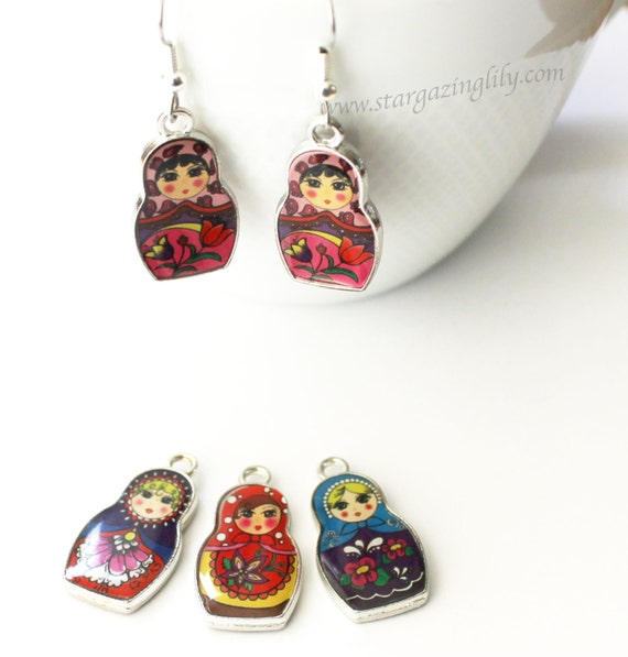 matryoshka doll charm earrings russian stacking dolls