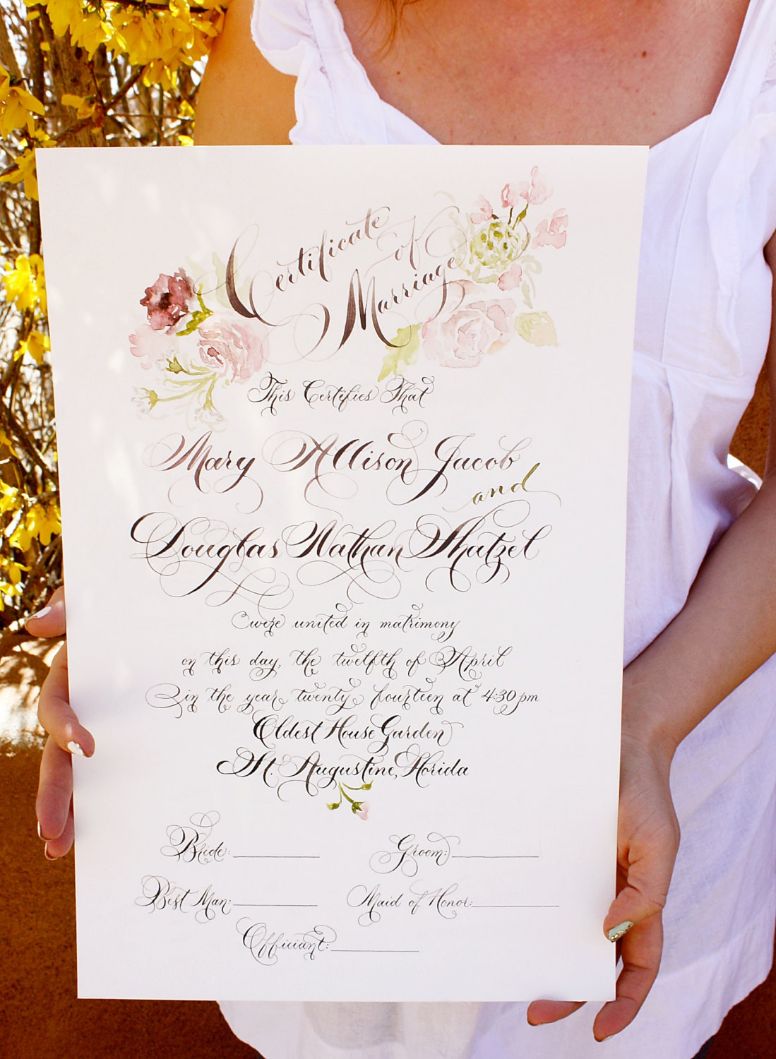 certificate marriage calligraphy templates license printable sample watercolor painted template matrimonio certificado personalized unique section handfasting anniversary vendido producto