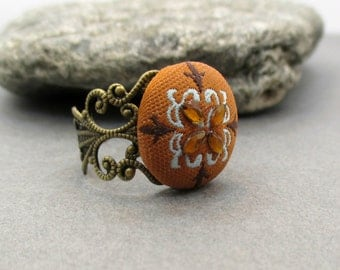 Studio SALE Brown Rustic Orange Button Ring - Fabric Covered Button - SWEET AUTUMN