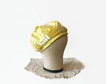 Vintage Union Made Yellow Geometric Beanie Hat, Mod Beret Cap, Halloween Costume Accessory