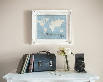 World Map Art Print, Travel Wall Decor, Travel Quote Poster, Traveler Gift, Travel is the Only Thing You Buy That Makes You Richer, 11x14