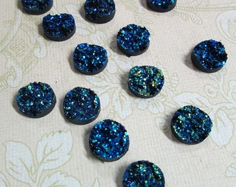 10 metalic blue 12mm round multicolor resin druzy cabochons,  drusy cabs, E151