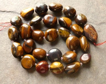 Tiger Eye High-Polished Smooth Nugget Beads - 11x12-11x18mm - 7 beads