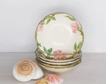 SALE! 5 Vintage Small Berry Bowls - Desert Rose Franciscan Ware ceramic dessert dish set - 1940s Made in California