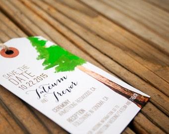 Redwood Save the Date - Luggage Tag Magnet Wedding Invitation - Design Fee