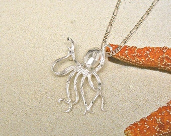 Sterling Silver Octopus Sea Life Pendant Charm Customize no. 2029