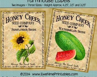 Instant Download - Printable Farmhouse Labels - Honey Creek Watermelon and Sunflower Seeds - Digital PDF or JPG File