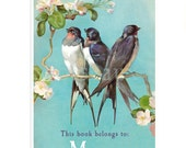 Personalized Bookplates - Swallows - Vintage Book Label, Lovely Hostess Gift, Mother's Day, Birds