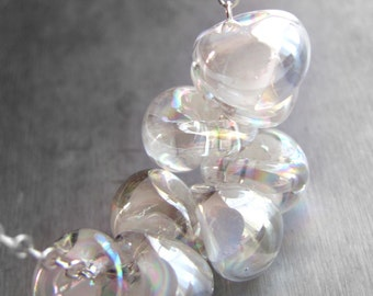 Bridal Bubbles - Clear and White Glass Necklace, Iridescent Rainbow Shimmer Glass Drop Beads, Sterling Silver, Modern Wedding Bridal Jewelry
