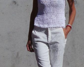 White tank top, white cropped tank white cotton tank white vest