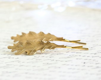 Gold Hairpins, Bobby Pins, Leaves, Nature Pins, Raw Brass Pins, Leaves, Natural Pins, Woodland Pins, Rustic Hair Pins, Leaf Bobby PIns