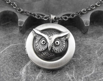 Silver Owl Locket Necklace -  The Owl's Nightly Hoots by COGnitive Creations