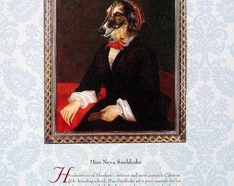 Dog Portrait - Miss Neva Sneldrake, Sir Odsidian Smuckles - 1993 Vintage Book Page - Whimsical Dog Art - 2 Sided - 10.25 x 8.25