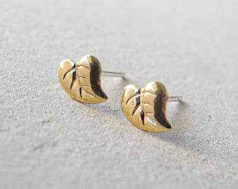 Leaves Earrings, Tiny Stud Earrings, Leaf Jewelry, Woodland Forest Jewelry, Autumn Jewelry, Sterling Silver Hypoallergenic Earrings (E074)