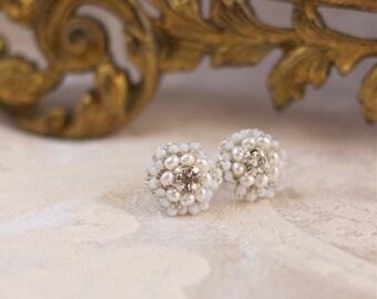 "Wedding Pearl Post Earrings / Lace Bridal Jewelry / Ivory Pearls, Vintage Rhinestones /  ""Matilda"""