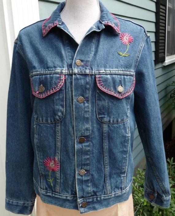 Vintage gap embroidered jean jacket womens blue denim coat